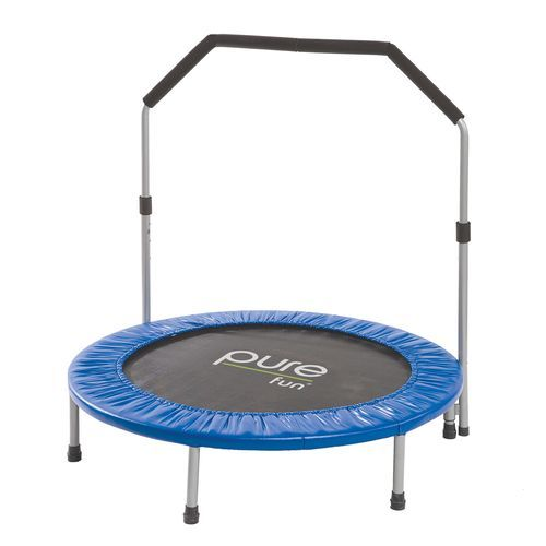Pure Fun 40 Round Mini Rebounder Trampoline With Handrail Blue - Outdoor Games And Toys, Trampolines at Academy Sports