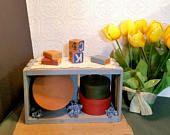 Blue Wooden Shabby Crate, Slatted Box, Knick Knack Shelf, Hand Made Crate, Blue Vintage Shelf, Farmhouse Decor, Gifts Under 25