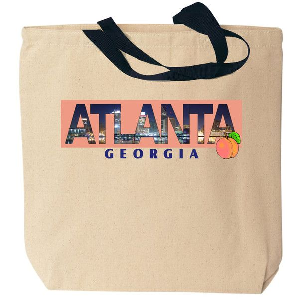Atlanta Photo Canvas Tote Bag ❤ liked on Polyvore featuring bags, handbags, tote bags, beige handbags, beige tote, handbags totes, tote handbags and tote hand bags