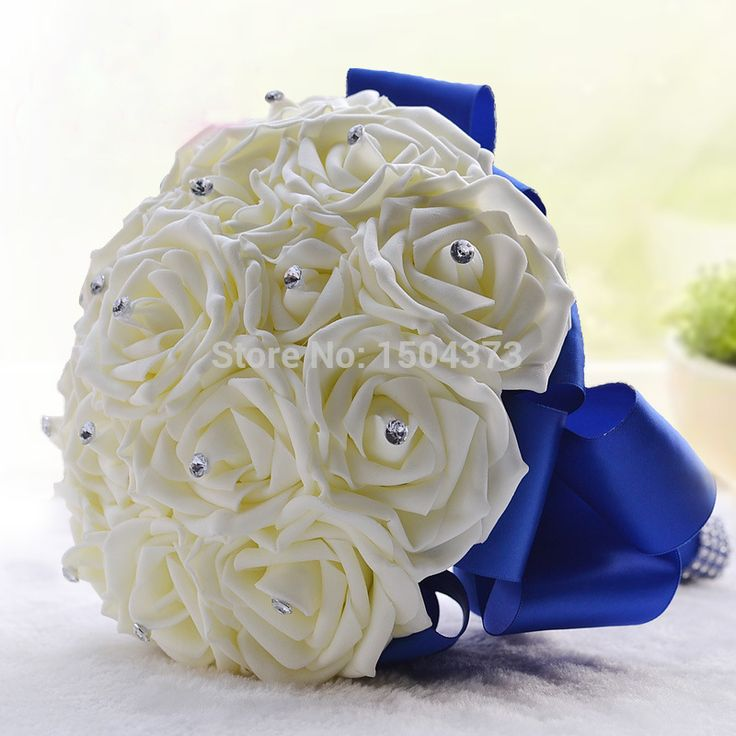 Stock Royal Blue Silk Rose Flowers Wedding Bouquets Artificial Beads Holding Flower Bridal Accessories 2015 Real Images