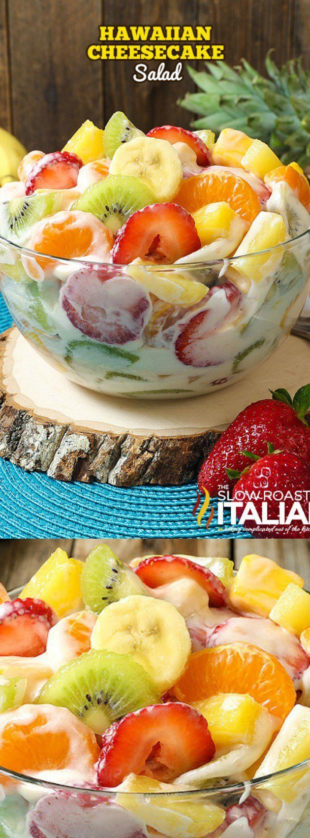 This Hawaiian Cheesecake Salad from The Slow Roasted Italian is bursting with flavor! Fresh tropical fruit and a rich and creamy cheesecake filling create the most glorious fruit salad ever!