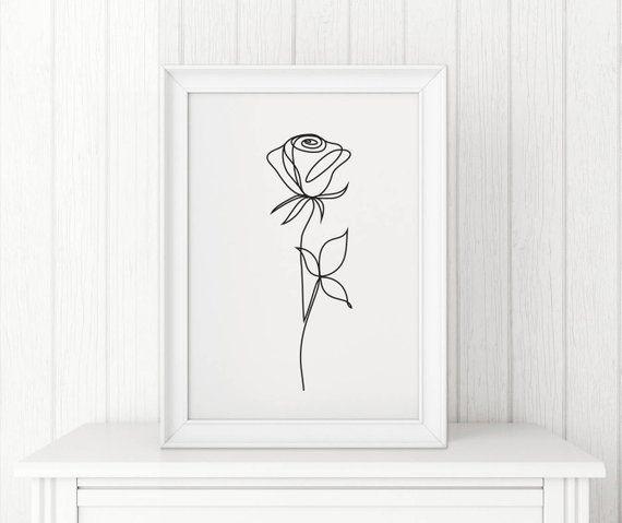 Rose abstract print Line art Wall decor Minimalist art Black and White flower poster Modern art Digi – Lydia S.