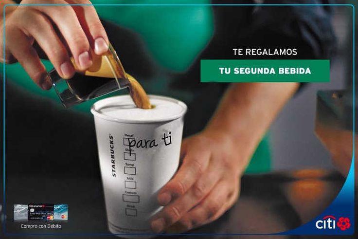 Starbuckstiene una promoción de 2×1 en bebidas con tarjetas Banamex, en la compra de una bebida preparada te llevas otra bebida gratis de igual o menor pr
