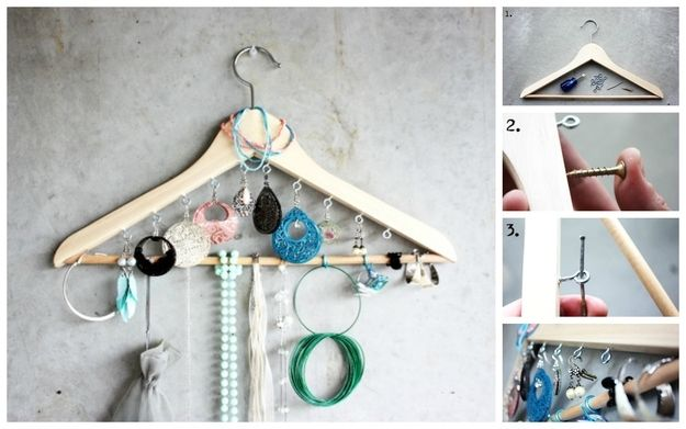 Clothing Hanger | 25 Clever DIY Ways To Keep Your Jewelry Organized
