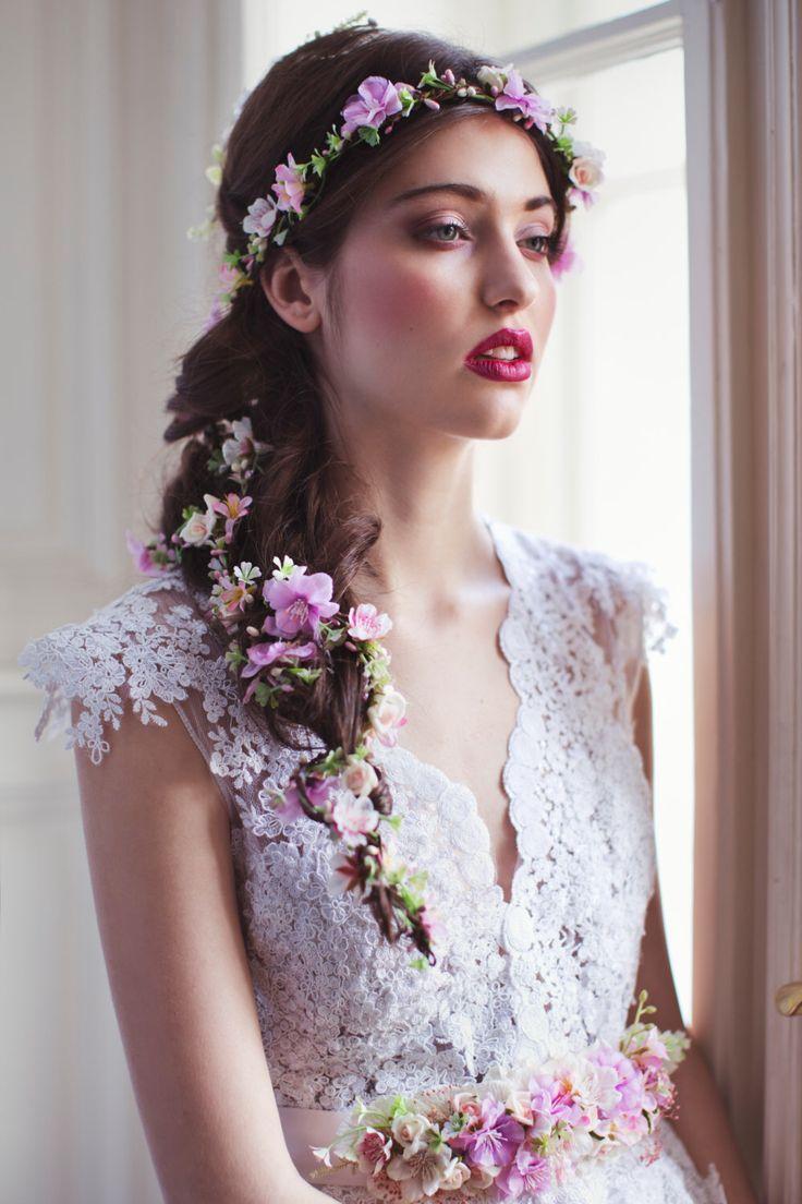 Bridal hair accessories for long hair - Flower Hair Garland Wedding Hair Flowers Head Wreath Flower Crown Cherry Blossoms Pink White Bridal Wreath Fairy Wreath Floral Hair Crown