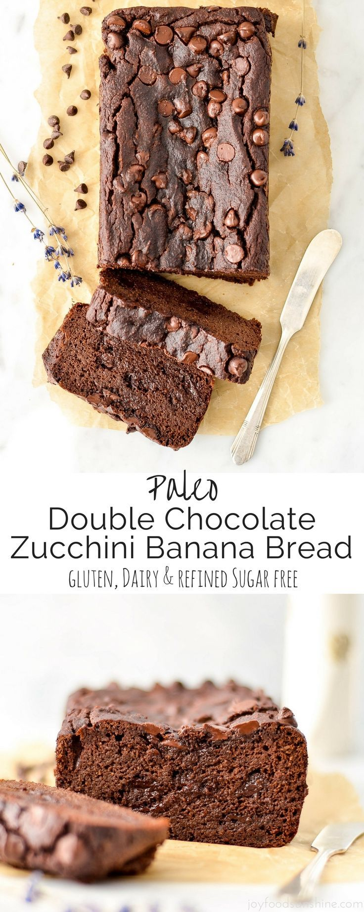 This Paleo Double Chocolate Zucchini Banana Bread Recipe is an easy, healthy & delicious way to eat your fruits and vegetables! Using a blender to whip up the batter makes the zucchini completely unde (Easy Bake Goods)