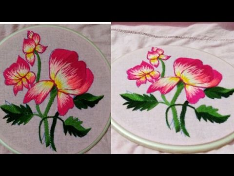 Hand embroidery beautiful wild rose flower and how to start without knot - YouTube