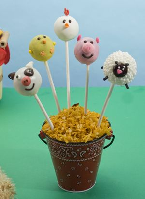 Barnyard cake pops for Ben's 2nd Birthday along with a red barn from rice krispies and a green pasture using round cake - big hit with the little man and guests!