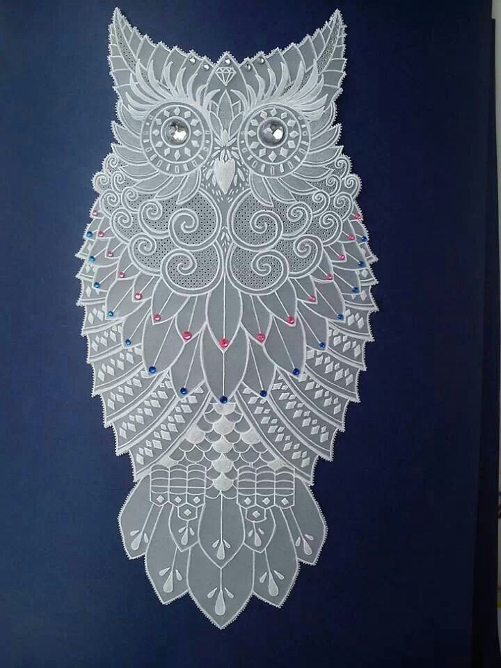 I would totally mount this in a frame and hang it as the art it is. Pergamano parchment craft owl. Add some bling to mine.