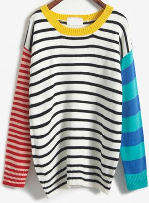 Loose pullover striped sweater ,color-block sleeve and neck make it so special .Bright color and chunky design is casual and lively enough !