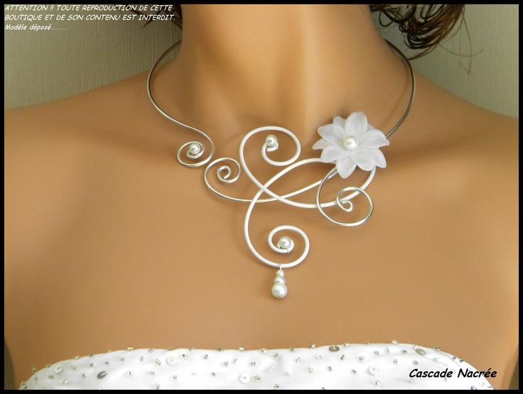 Collier mariage bijou fleur des iles tissu satin blanc aluminium argenté mariage mariée Aluminium Blanc
