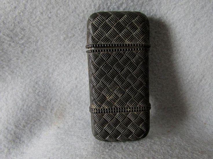 Antique c1870s Gutta Percha Thermplast Match Safe, Vesta, Basket Design