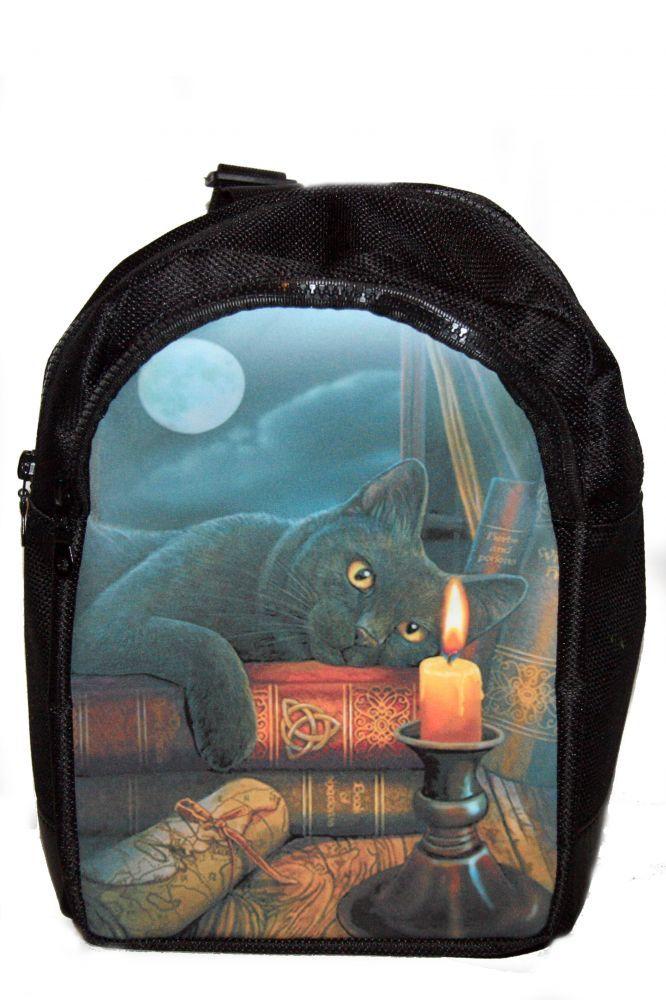 Hátitáska, hátizsák, fekete macska gyertyával