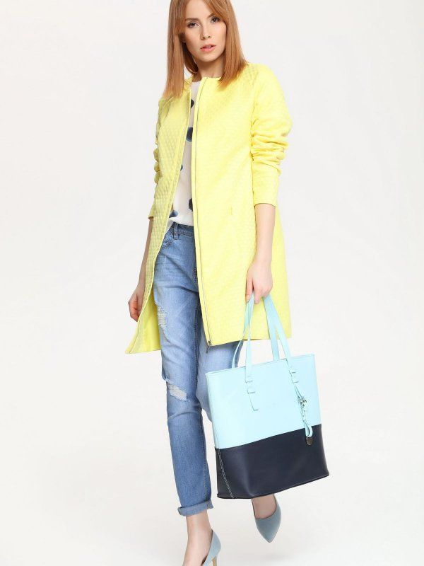 W2017 płaszcz damski   żółty - SPZ0316 TOP SECRET