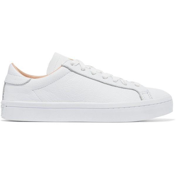 Adidas Originals Court Vantage Textured Leather Sneakers 6 410 Rub Liked On Polyvore Featuring Sh White Tennis Sneakers Adidas Shoes Originals Tennis Shoes