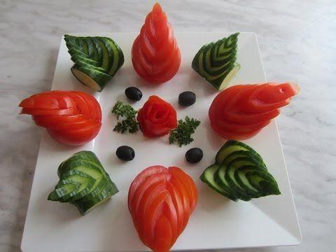 Salate - Verzierung aus Gurke und Mortadella - YouTube