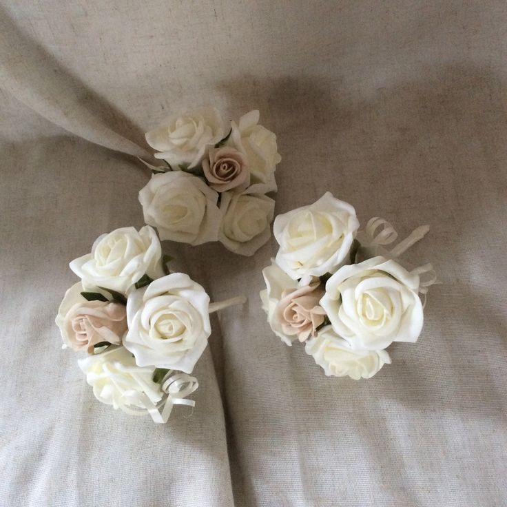 Ivory and mocca poly foam roses flower girls bouquets by Cathey's flowers