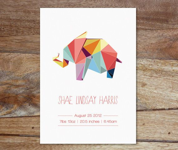 Personalized Birth Announcement - Geometric Animal Designs - Baby Birth Poster via Etsy