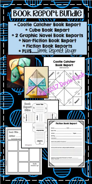 Book Report Templates and Book Report Bingo - Includes Cootie Catcher Book Reports and Cube Book Reports