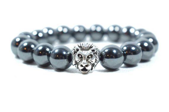 Men's Hematite Bracelet Lion Head Bracelet by AlterDecoCoinsnBeads