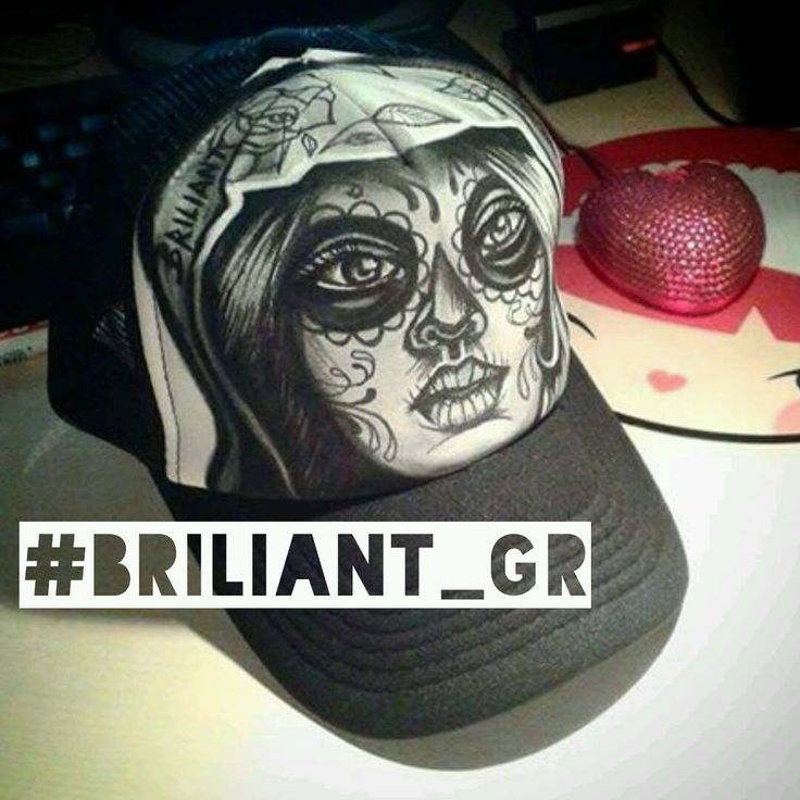 hand painted hat by briliant gr // briliant-hat-project /// hand drawn illustrations on caps by Briliant Gr / every hat is unique / m.facebook.com Briliantpage/ #available #briliantgr #hat #2016 #MUERTO MUERTO muerte #muerte #tattoo #art art on hat   #briliant_gr Briliant gr ☆Hello★I am BrILIAnt self taught artist ★