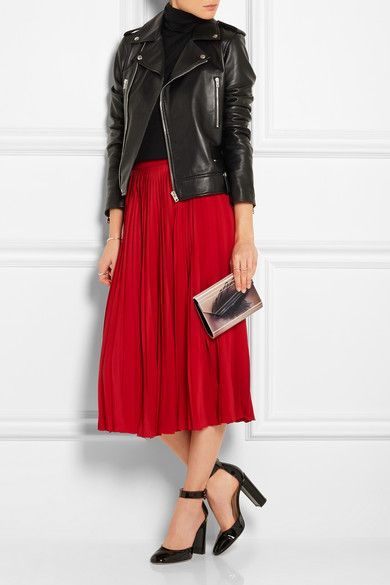 leather jacket + pleated skirt   #winterdatenight