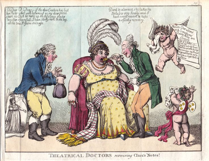 "Charles Williams, ""Theatrical doctors recovering Clara's notes!"" Hand-col. copper engraving"