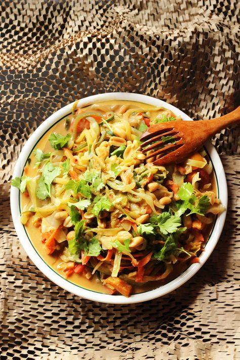 Spiralized Zucchini Noodles with Peanut Sauce: Would need to add chicken or other meat as protein