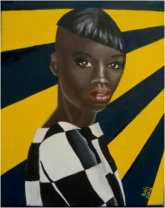 Beautiful young black woman on yellow & blue background, oil on canvas