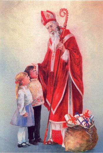 Saint Nicholas was a bishop who died about AD 346 to which many miracles are attributed. Traditionally brings gifts the night of 5 December in countries like Germany, Czech Republic, Luxembourg, Slovakia, Poland, Croatia, the Netherlands, Belgium, ...