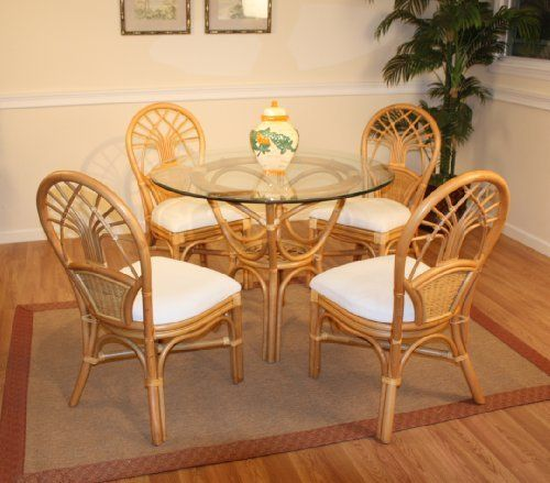 Jupiter rattan dining set of round table 4 chairs by for Dining room table with wicker chairs