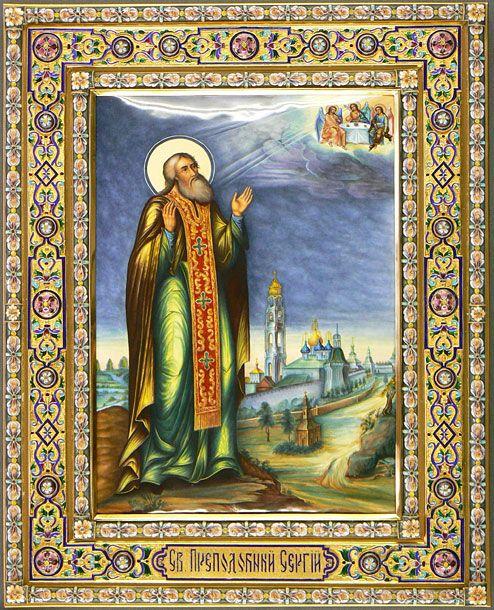 икона Сергий Радонежский, серебряный оклад, серебро, купить, заказать, горячие эмали, филигрань, перегородчатая эмаль