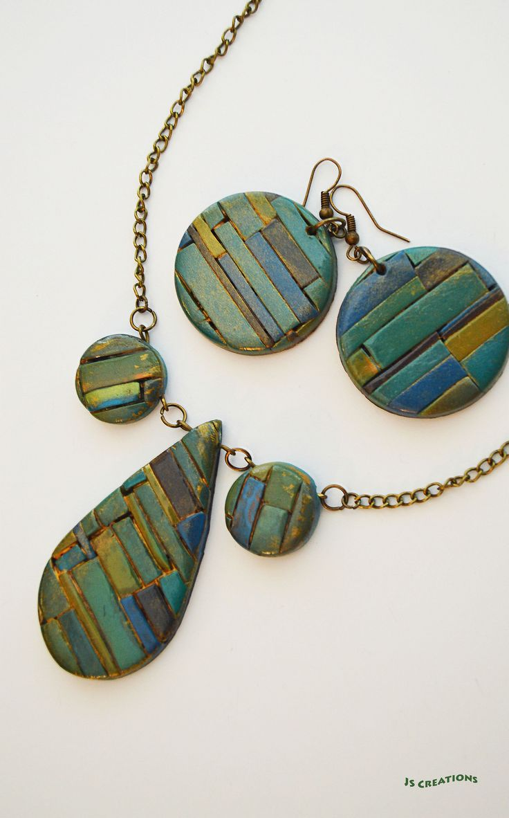 Polymer clay necklace and earrings