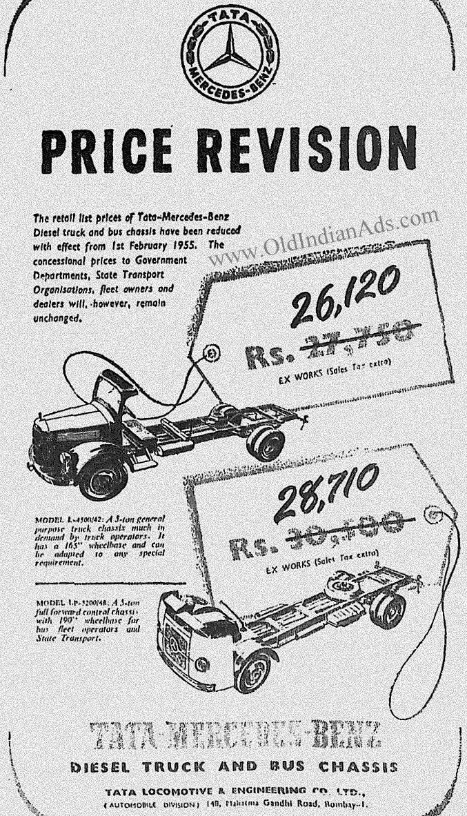 1956 Tata Mercedes Benz Old Advertisements Vintage Advertising
