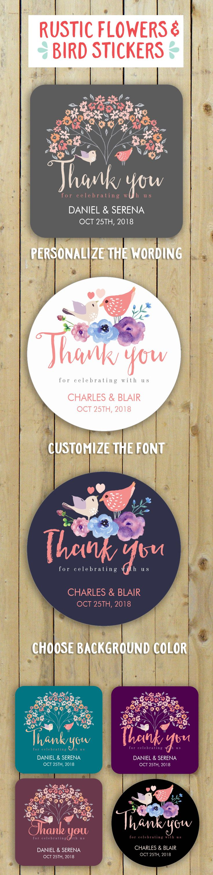 Vintage Rustic Bird and Flower Tree Wedding Favor Thank You Stickers. Perfect for wedding, bridal shower gifts, engagement party etc.