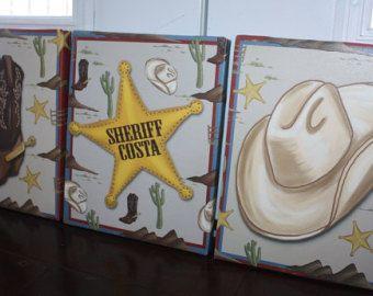 Lot de 3 Cowboy toiles garçons chambre enfants toile tendue murale Art 3CS063