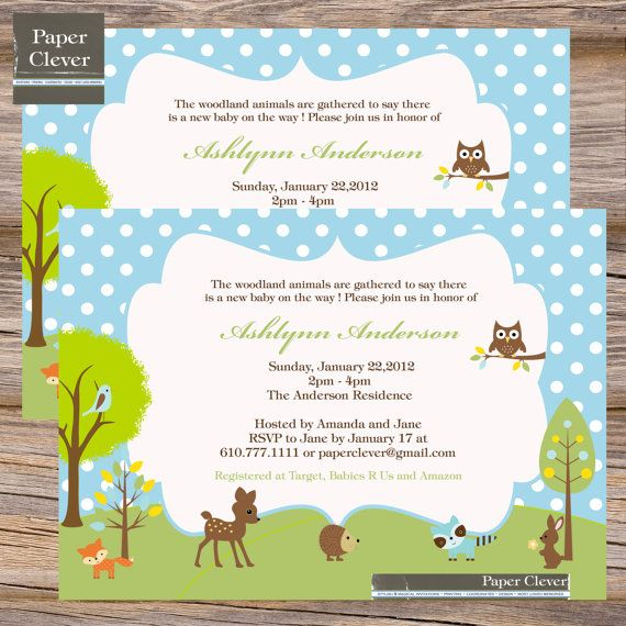 boys baby shower invitation woodland animal bluedigital file printable
