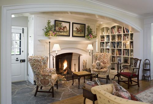 Inglenook with cozy reading nook beside fireplace. Traditional family room by Archer & Buchanan Architecture, Ltd.