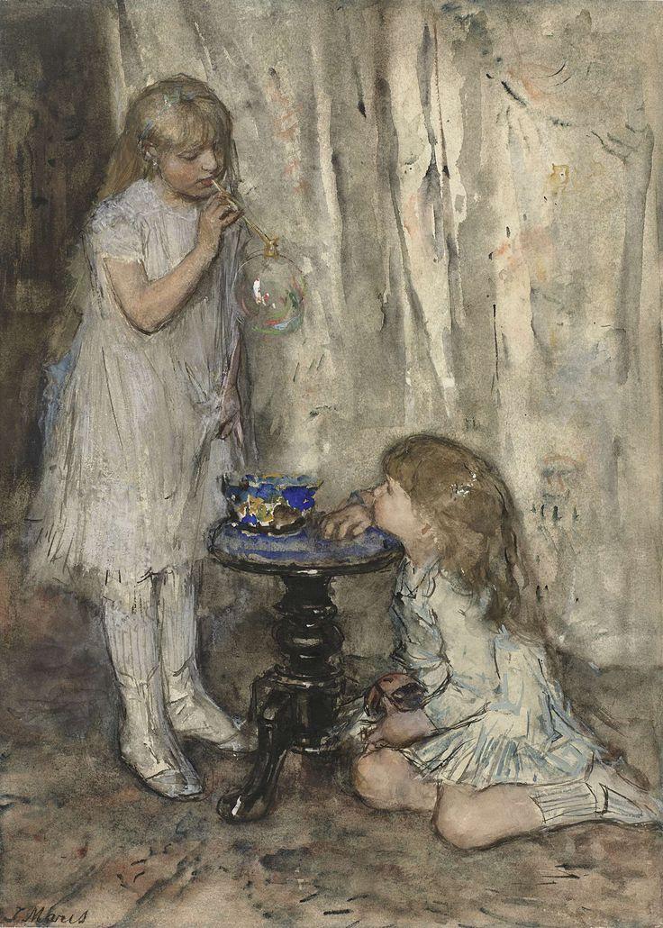 Twee meisjes die bellenblazen, Jacob Maris, ca. 1880