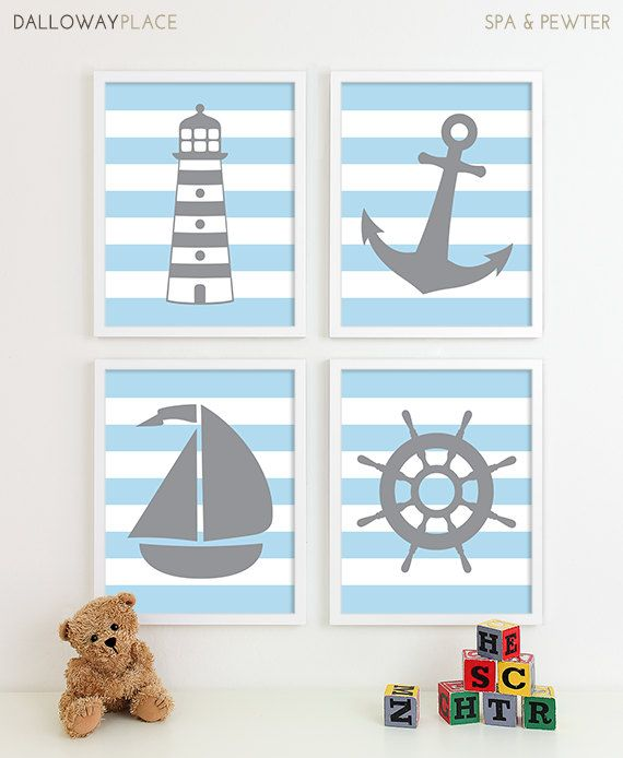 Baby Boy Nursery Art Nautical Nursery Art by DallowayPlaceKids
