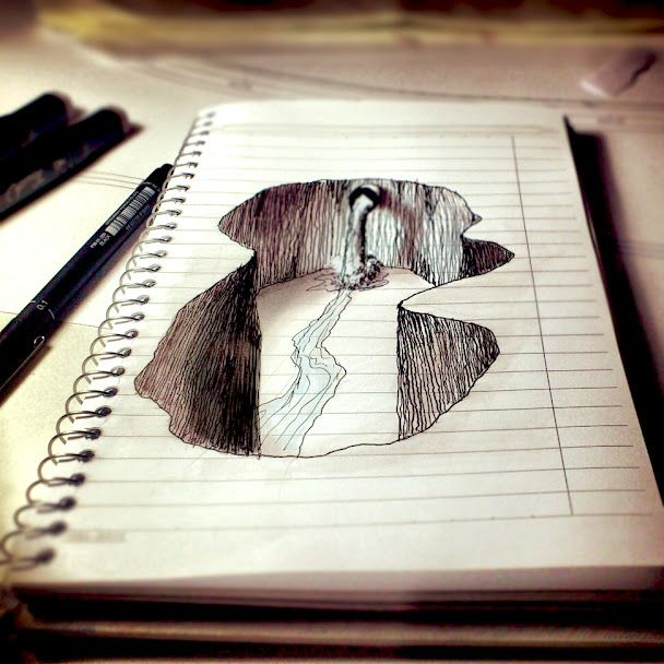Fabulous 3D drawing on paper
