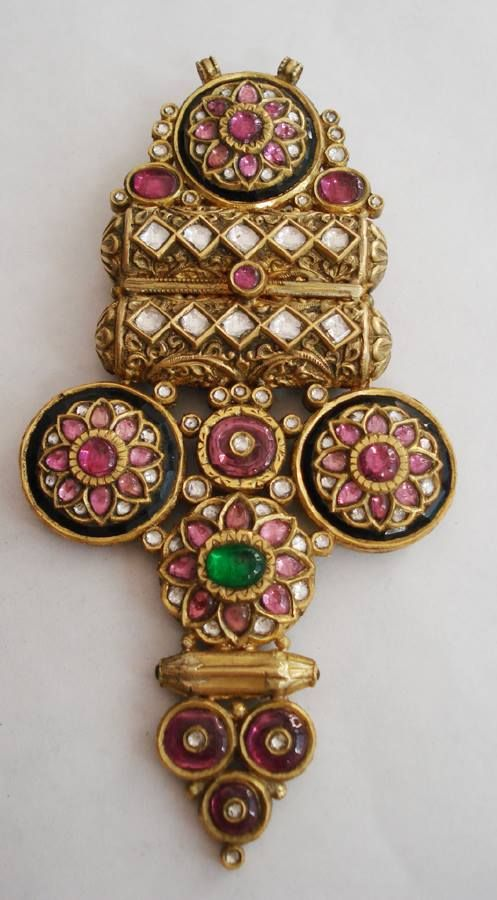 jadau,temple studded , pendant,lotus motif , nakshi with stones.