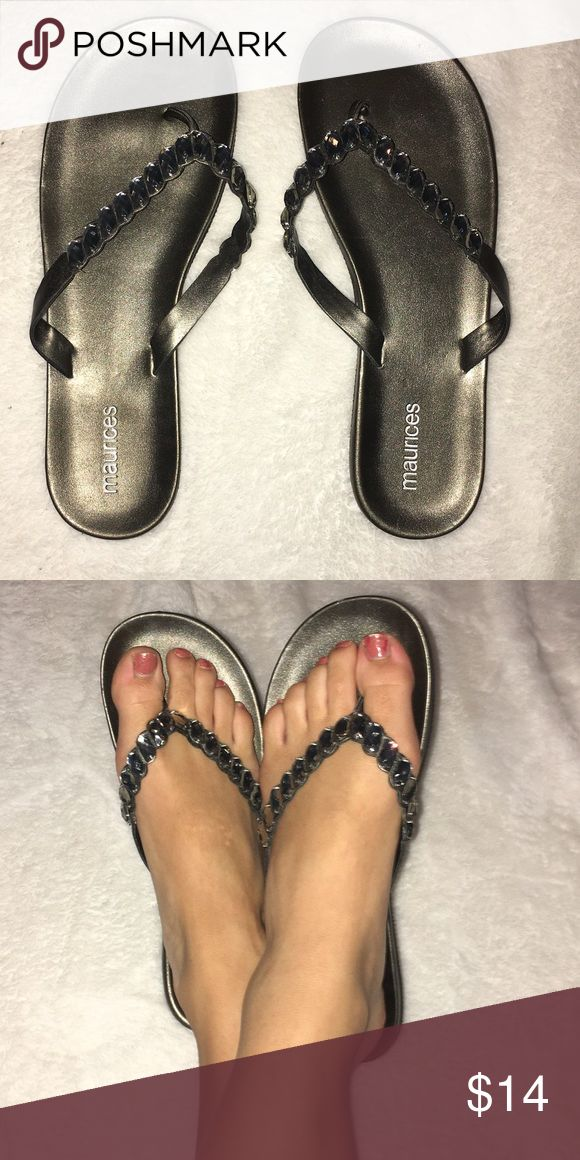Bling flip flops! Charcoal grey color. Barley worn, great condition! Size 8 but would fit someone who's a 7.5 Maurices Shoes Sandals