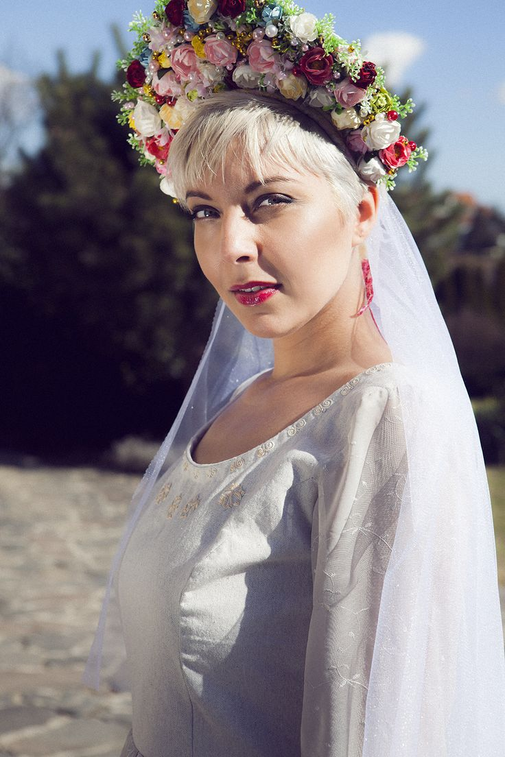 Beautiful floral headpiece inspired by slovak traditions