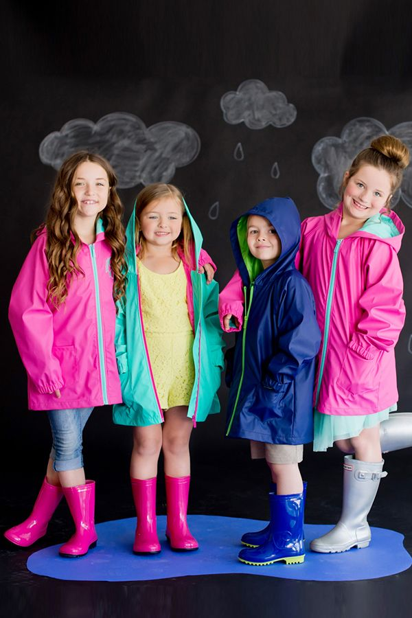 Who says that rainy days can't be fabulously fun? Make a splash in these bright and comfy monogrammed youth rain jackets.  The kids will love stomping around in the rain sporting one of these stylish raincoats.  Choose from hot pink, mint green, or navy blue jacket colors.  Great for back to school fall outfits and for rainy spring days. These rain jackets can be ordered here: http://www.tippytoad.com/youth-kids-rain-jackets.asp