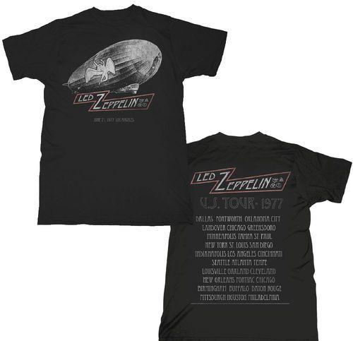 Led Zeppelin US Tour 1977 Vintage Concert T-shirt - Los Angeles June 21, 1977. Men's Black Shirt