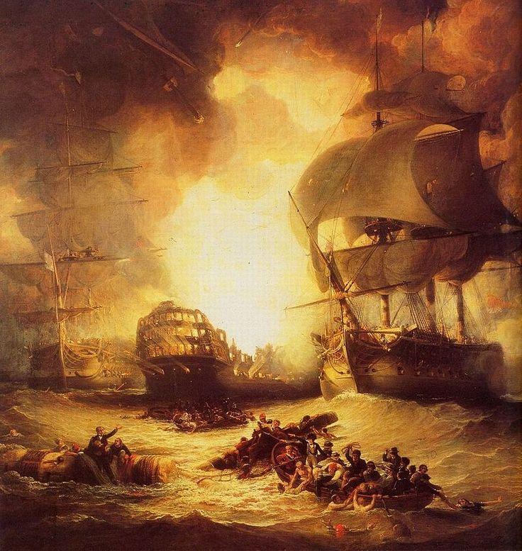 Marine. Sur des barques ou des espars flottants, les marins fuient un navire en feu Incendie du navire amiral français à la bataille d'Aboukir, au cours de laquelle la flotte anglaise s'empare d'un vaisseau qui deviendra le HMS Canopus, sous le commandement de Francis Austen.