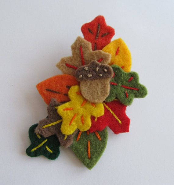 autumn felted brooch #herfst #bladeren #nature