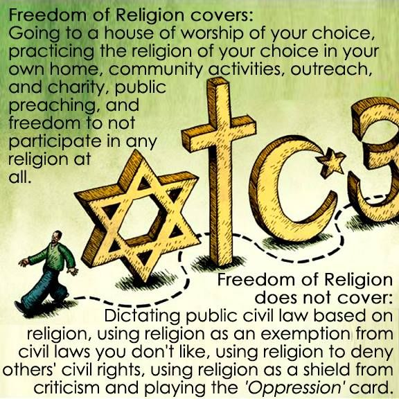 The first amendment, broken down for those who do not understand that freedom of religion includes freedom from religion.