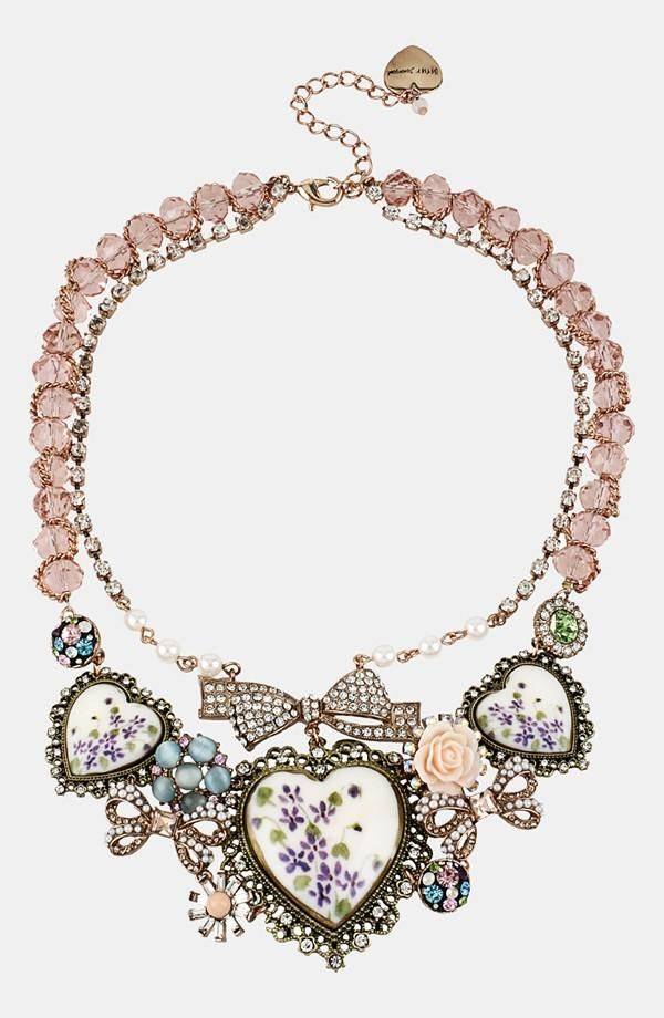 Betsy Johnson porcelain heart bib necklace. This necklace is so pretty.